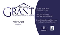 Business Card - Grant Homes (front)